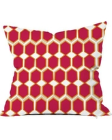 "SafiyaJamila Beehive Throw Pillow BeeHive Deep_Yellow1, 2, 3 Size: 20"" H x 20"" W x 5"" D, Color: Pink"