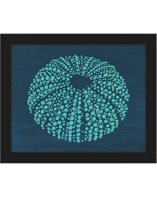 """Click Wall Art 'Urchin Dots Jellyfish Nautical' Framed Graphic Art Print on Canvas BHS0000588FRA Size: 22.5"""" H x 26.5"""" W x 1"""" D Frame Color: Black"""