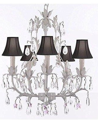 House of Hampton Molina 5-Light Shaded Chandelier HMPT3678 Shade Color: Black Crystal Color: Pink