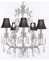 House of Hampton® Molina 5-Light Shaded Empire Chandelier INQU4789 Shade Color: Black Crystal Color: Pink