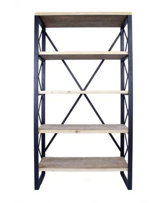 """328709 32.75"""" Natural and Brown Metal Wood and MDF Bookcase with 5"""