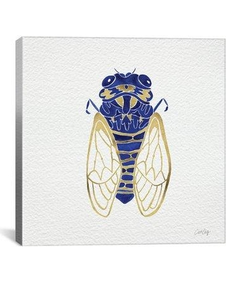 "Brayden Studio Cicada Artprint by Cat Coquillette Painting Print on Wrapped Canvas in Gold and Navy BRSD2877 Size: 26"" H x 26"" W x 0.75"" D"