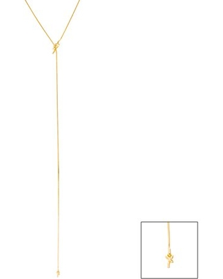 Lesa Michele Love Knot Lariat Chain Necklace in Yellow Gold Plated Sterling Silver for Women