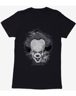 IT Chapter Two Pennywise Come Home Script Grayscale Womens T-Shirt