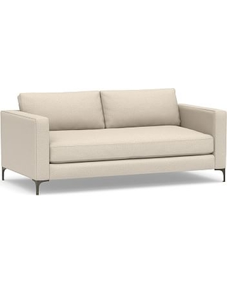 """Jake Upholstered Loveseat 70"""" with Bronze Legs, Polyester Wrapped Cushions, Performance Chateau Basketweave Oatmeal"""