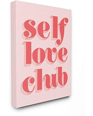 Stupell Industries Self Love Club Quote Bold Pink Red Text Color Pop, Designed by Daphne Polselli Wall Art, 16 x 20, Canvas