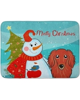 The Holiday Aisle Snowman with Longhair Dachshund Memory Foam Bath Rug THLA5102 Color: Red