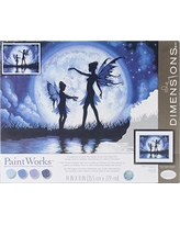 DIMENSIONS 73-91671 Twilight Fairy Silhouette Paint by Numbers for Adults, 14'' W x 11'' L