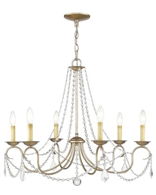 Doane 6 - Light Candle Style Classic / Traditional Chandelier with Crystal Accents