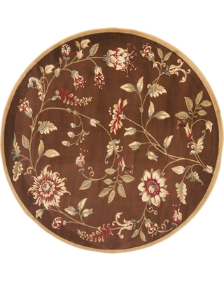 "Brown Floral Loomed Round Area Rug 5'3"" - Safavieh"