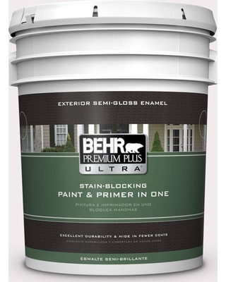 BEHR ULTRA 5 gal. #680C-1 Wispy Pink Semi-Gloss Enamel Exterior Paint and Primer in One