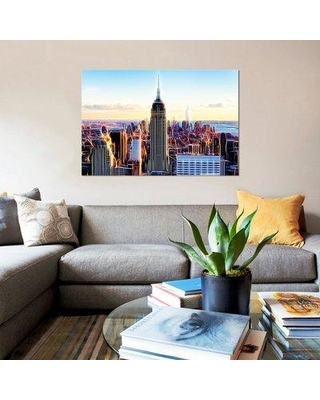 """East Urban Home 'The Skyscrapers' Graphic Art Print on Canvas UBAH4498 Size: 12"""" H x 18"""" W x 0.75"""" D"""