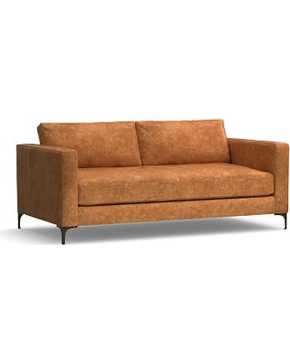Sales For Jake Leather Loveseat 70 With Bronze Legs Down Blend Wrapped Cushions Leather Statesville Caramel