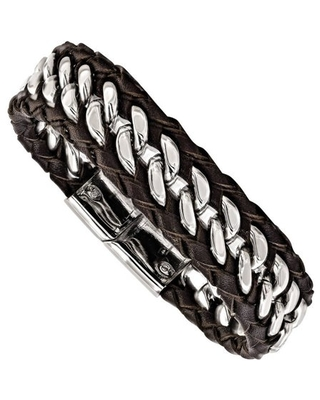 Stainless Steel Polished Brown Leather Bracelet, 8.5