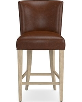 Trevor Counter Stool, Grey, Italian Distressed Leather, Caramel