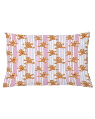 """Gingerbread Man Indoor/Outdoor Striped Lumbar Pillow Cover East Urban Home Size: 16"""" x 26"""""""