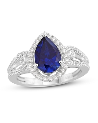 Blue & White Lab-Created Sapphire Ring in Sterling Silver