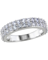 1.52 CT. T.W. Simulated Sapphire Shared Prong Setting Ring in Sterling Silver 5 - White