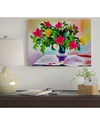 """Winston Porter 'Flowers Colors' Oil Painting Print on Wrapped Canvas WNST7194 Size: 18"""" H x 24"""" W"""