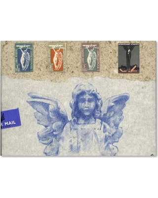 """Trademark Art """"Blue Angel"""" by Nick Bantock Graphic Art on Wrapped Canvas ALI2178-C Size: 14"""" H x 19"""" W x 2"""" D"""