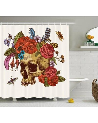 Amazing Deals On Ebern Designs Zadie Day Of The Dead Vintage Sugar Skull Bouquet Of Flowers Feathers Blooms Bugs And Bees Single Shower Curtain Fcoe3495 Size 69 W X 70 H
