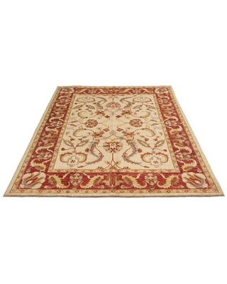 """One-of-a-Kind Deltha Hand-Knotted 2010s Chobi Red/Beige 8'10"""" x 11'10"""" Wool Area Rug"""