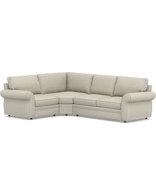 Pearce Roll Arm Upholstered Right Arm 3-Piece Wedge Sectional, Down Blend Wrapped Cushions, Sunbrella(R) Performance Boss Herringbone Pebble