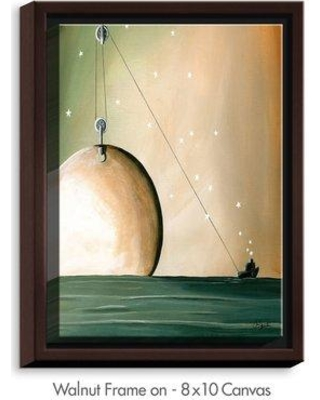 "DiaNocheDesigns 'A Solar System' by Cindy Thornton Painting Print on Wrapped Framed Canvas DNOC1654 Frame Color: Walnut Size: 17.75"" H x 13.75"" W x 1.75"" D"
