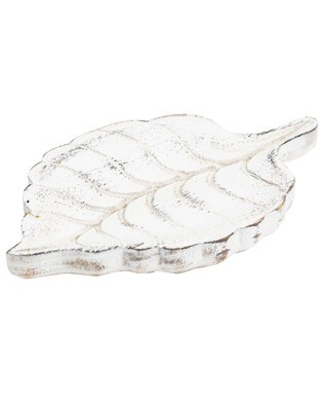 Amaris Solid Wood Abstract Decorative Plate in White