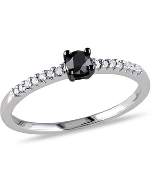 1/4 Carat T.W. Black and White Diamond 10kt White Gold Solitaire Engagement Ring