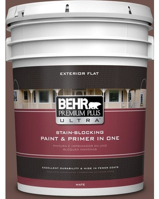 BEHR Premium Plus Ultra 5 gal. #N130-7 Double Fudge Flat Exterior Paint and Primer in One