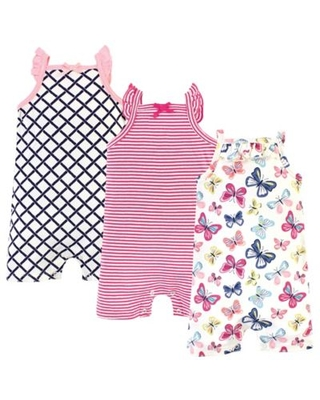 Touched by Nature Size 0-3M 3-Pack Butterflies Organic Cotton Rompers