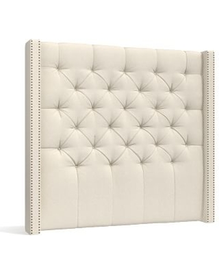 Harper Upholstered Tufted Tall Headboard with Bronze Nailheads, Queen, Textured Basketweave Flax