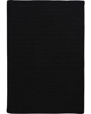 Home Decorators Collection Solid Black 2 ft. x 6 ft. Indoor/Outdoor Braided Runner Rug