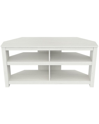 Inval 50 in. Washed Oak Wood Corner TV Stand Fits TVs Up to 50 in. with Cable Management