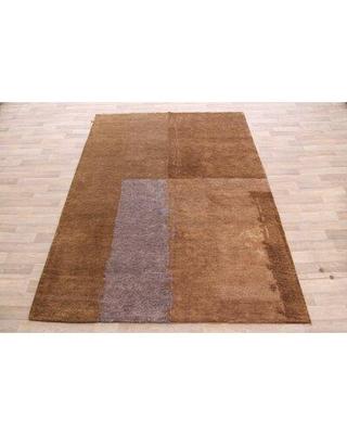 """George Oliver One-of-a-Kind Mccandless Hand-Knotted 6'3"""" x 8'11"""" Wool Brown Area Rug W000857891"""