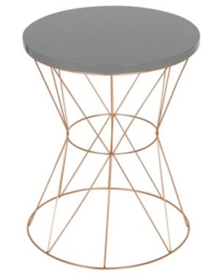 Kate And Laurel Mendel Round End Table In Rose Gold/grey