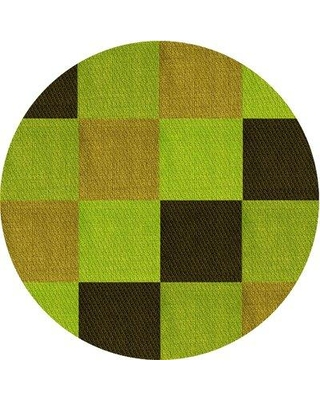 East Urban Home Abstract Wool Yellow Area Rug W002501832 Rug Size: Round 4'
