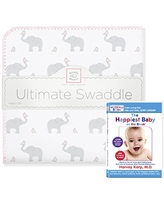 SwaddleDesigns Ultimate Winter Swaddle, X-Large Receiving Blanket + The Happiest Baby DVD Bundle, Elephant and Pink Chickies (Mom's Choice Award Winner)