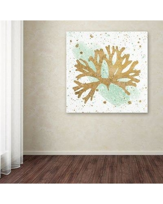 """East Urban Home 'Silver Sea Life Aqua Coral' Graphic Art Print on Wrapped Canvas EBHV2841 Size: 24"""" H x 24"""" W x 2"""" D"""