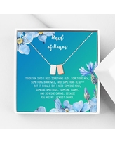 Anavia Maid of Honor Necklace Gift, Maid of Honor Sister Gift, Maid Of Honor Card for Girls, Wedding Gifts Jewelry Necklace-[Silver and Rose Gold Double Cube, Bright Blue Gift Card]