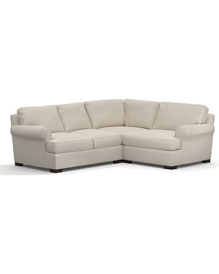 Townsend Roll Arm Upholstered Left Arm 3-Piece Corner Sectional, Polyester Wrapped Cushions, Twill Cream