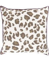 "House of Hampton Rushden Leopard Throw Pillow HOHM5846 Size: 22"" H x 22"" W x 4"" D, Color: Eggplant / Chocolate, Filler: Down"