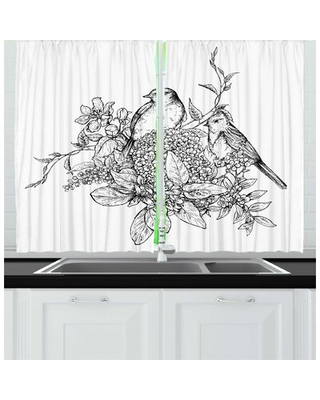 2 Piece Botanical Floral Monotone Composition of Flowers Bouquet Branches and Birds Kitchen Curtain Set East Urban Home