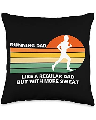 Funny Running Shirts, Tees & Gifts Funny Running Dad Gift for Fathers Throw Pillow, 16x16, Multicolor