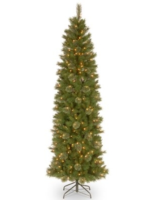 Pencil Slim Green Pine Artificial Christmas Tree with Clear Lights Size: 9'