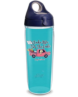 Tervis 1343693 Puppie Love - Take Me to the Lake Pup Insulated Tumbler with Wrap and Navy with Gray Lid, 24oz Water Bottle, Clear