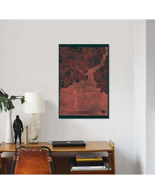 """East Urban Home 'Istanbul Infrared Urban Blueprint Map' Graphic Art Print on Canvas EBHU6371 Size: 60"""" H x 40"""" W x 1.5"""" D"""