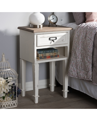 The Gray Barn Heart and Soil Weathered Oak and White Wash Distressed Finish Wood Nightstand (Nightstand-White)