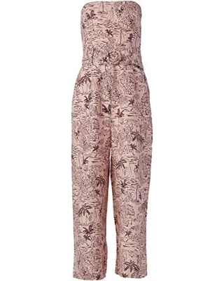 ASTR the label Women's Strapless Cropped Wide Leg Kona Jumpsuit, Blossom Tropical Print, S